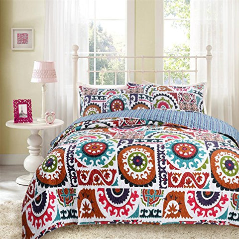 DaDa Bedding Bohemian Wildfire Gardens Reversible Cotton Quilted Coverlet Bedspread Set - Bright Vibrant Multi Colorful Rainbow Geometric Floral Print - Cal King - 3-Pieces