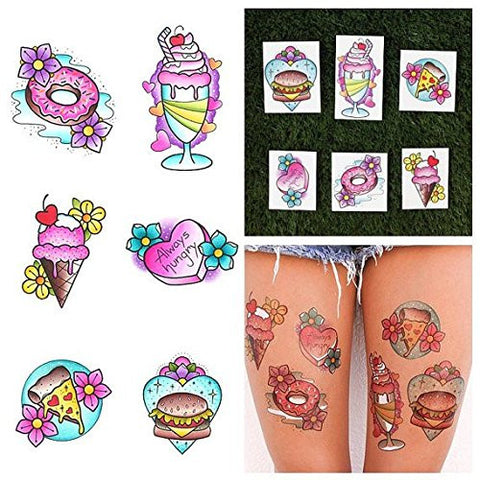 Tattify Colorful Traditional Food Temporary Tattoos - Just a Bite (Complete Set of 12 Tattoos - 2 of each Style) - Individual Styles Available and Fashionable Temporary Tattoos