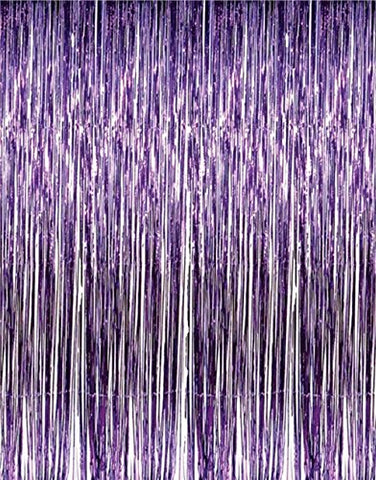 2 X 3' x 8' Purple Tinsel Foil Fringe Backdrop Door Window Curtain Party Decoration