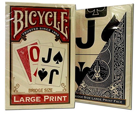 Bicycle Large Print Bridge Playing Cards 2 Decks -(1) Red, (1) Blue