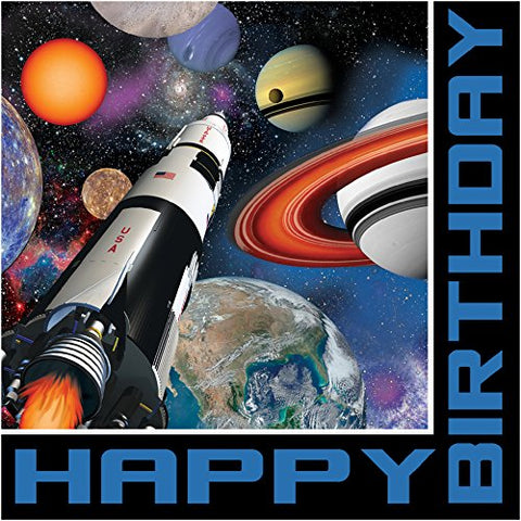 Creative Converting 16 Count 3 Ply Happy Birthday Space Blast Lunch Napkins, Multicolor