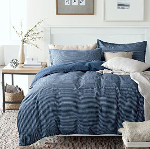 Washed Cotton Chambray Duvet Quilt Cover Stripe to Solid Reversible Casual Modern Style Pinstripe Bedding Set Relaxed Soft Feel Natural Wrinkled Look (King, Blue Denim)