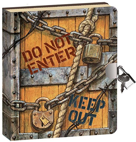 Peaceable Kingdom Keep Out 6.25 Lock and Key, Lined Page Diary for Kids