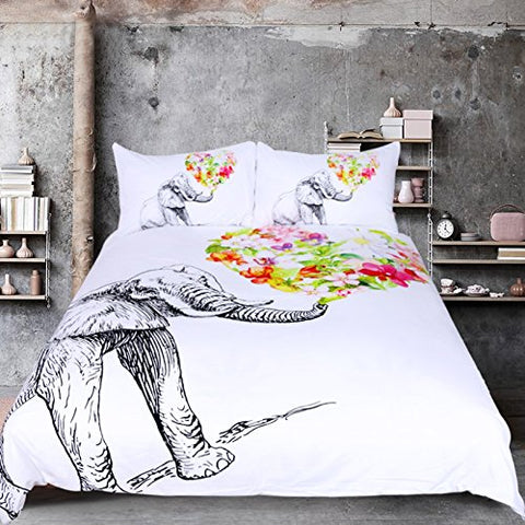 Sleepwish 3PCS Floral Elephant Duvet Cover Set Black and White Bed Set Colorful Flowers Elephant Bedding Queen