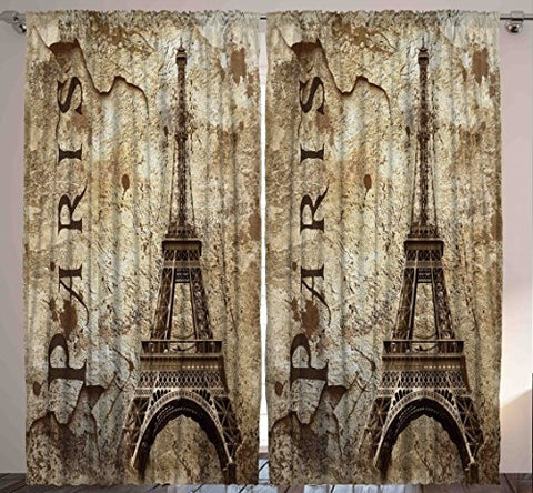 Paris Decor for Bedroom Curtains City Decor Living Room Decorations Eiffel Tower Accessories in French Style Two Panels Set 108 X 84 Inches Home Fashion with Parisian Themed Artwork, Beige Brown