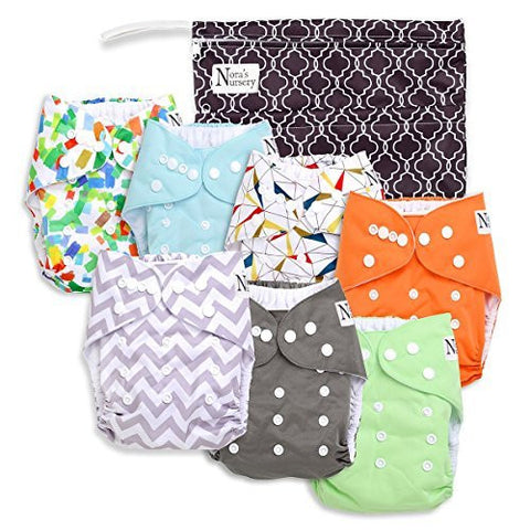 Nora's Nursery Baby Cloth Pocket Diapers  with 7 Bamboo Inserts and 1 Wet Bag