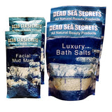 Authentic Premier Dead Sea Mud Masks & Salts from Israel: 2 Facial Mud Masks + 2 Bath Salt Packs – Skin Cleansing System – Relaxation Detox Exfoliate – Anti Acne – Eczema Psoriasis Treatment