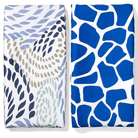 b.bear Changing Pad Covers Set, Rope and Primal - Navy Blue Nautical and Blue Giraffe Muslin Cotton Baby Diaper Change Table Mat Fitted Sheet