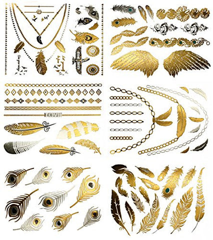Premium Feather Temporary Metallic Tattoos - 75+ Designs - Feathers, Peacock, Birds in Gold, Silver, Turquoise (Destiny Collection)