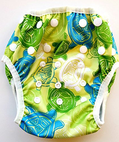 Swim Diaper - Reusable and Adjustable for Babies 0 to 12 months and Toddlers up to 3 years by Terra Baby (Green Hawaiian Turtles)