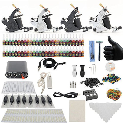 Yuelong Complete Tattoo Kit 4 Tattoo Machine Guns Power Supply Tattoo Ink Caps Foot Switch Tips Clip Cord TK-3006