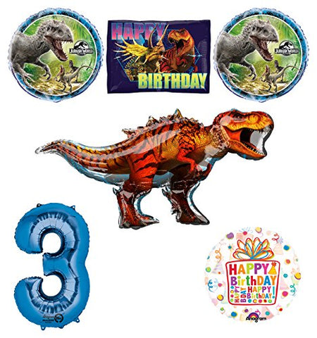 Jurassic World Dinosaur 3rd Birthday Party Supplies and Balloon Decorations
