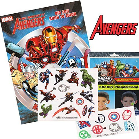 Marvel Avengers Coloring & Activity Book with Glow in the Dark Tattoos: Spider-man, Thor, Iron Man, Captain America, The Incredible Hulk