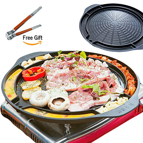 ALL IN ONE KOREAN BARBEQUE STOVETOP GRILL PAN 15 Inches Wide Indoor Outdoor Usable with Gas Stovetop Including 9 Inches Long Stainless Tongs MADE IN KOREA Great for BBQ Party
