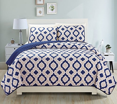 Fancy Collection 3pc Bedspread Bed Cover Revirsable Beige White Navy blue New#68 (King)