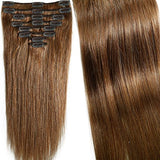 18 inch 100g Clip in Remy Human Hair Extensions Full Head 8 Pieces Set Long length Straight Very Soft Style Real Silky for Beauty #6 Light Brown