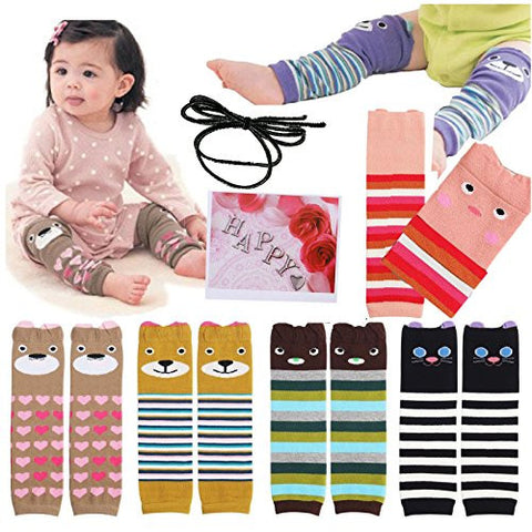 Yaobaby 6pairs Combed Cotton Cartoon Bear Infant Toddler Leg Sleeve Warmers Socks Protector Warmer For Baby Knee Pads + Gift Card + Hair rope