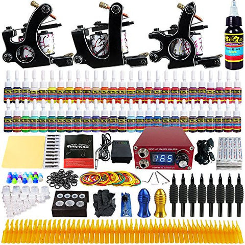 Solong Tattoo® Complete Tattoo Kit 3 Pro Machine Guns 54 Inks Power Supply Foot Pedal Needles Grips Tips TK352