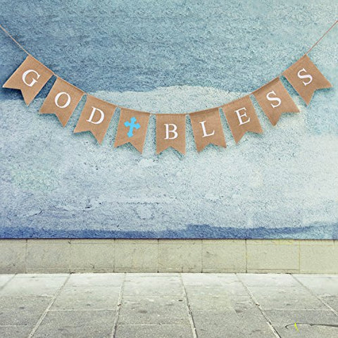 God Bless Baptism Banner by WATINC,Communion Party Banner,Christening Decoration for Wedding, Baby Shower Party(blue)