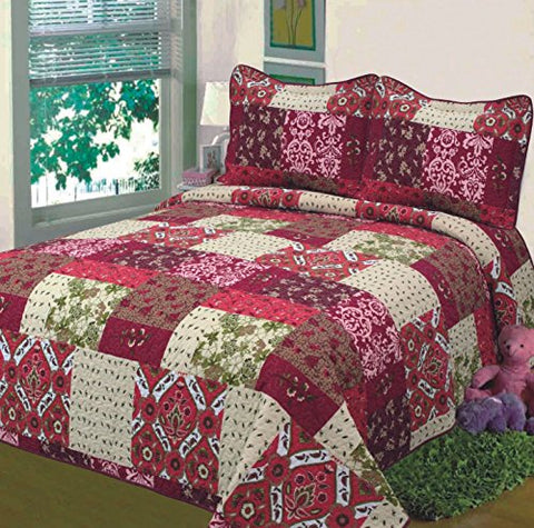 Fancy Collection 3pc Bedspread Bed Cover Floral Beige Red Green Brown Burgundy New 0051(king)