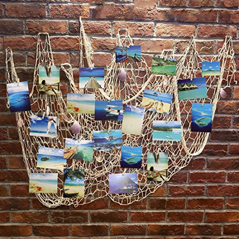 Photo Hanging Display Frames,Ecjiuyi 79 x 40inch Mediterranean Fishing Net Wall Decorations with 30 Clips,Picture Cards Collage Artworks Organizer