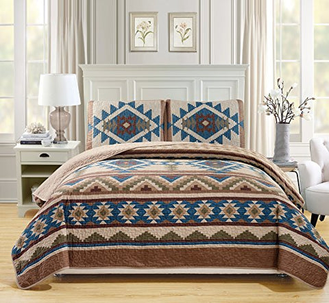 Western Southwestern Native American Tribal Navajo Design 3 Piece Multicolor Beige Taupe Brown Blue Green Oversize King / California King Bedspread Quilt Coverlet Set (118 X95 )
