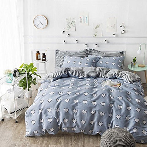 Grey Cotton Bedding Duvet Cover Set Full/Queen by Mucalis Sweetheart Pattern 3pc Quilt Cover Set with 2 Shams for Kids Adults Hidden Zipper Closure 4 Corner Ties-Soft,Durable,Fade Resistant