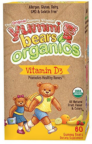 Yummi Bears Organics Vegetarian Vitamin-D Supplement for Kids, Gummy Bears, 60 Count