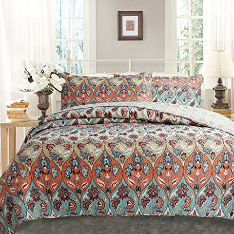 DaDa Bedding Bohemian Floral Paisley Garden Party Reversible Quilted Coverlet Bedspread Set - Bright Vibrant Boho Chic Multi Colorful Teal Blue Salmon Coral Pink Orange Print - Cal King - 3-Pieces