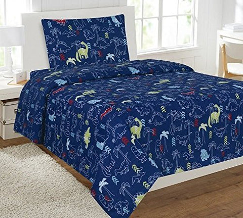 Fancy Linen Collection Twin Size 3 Pc Sheet Set Dinosaur Navy Blue # Dinosaur Navy