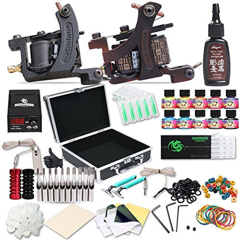 Dragonhawk Complete Tattoo Kit 2pcs Coil Tattoo Machine Tattoo Guns 10 Color Immortal Inks Power Supply 50 Needles Tips Grips Travel Case Tattoo Supplies for Tattoo Artists 2-2YMX