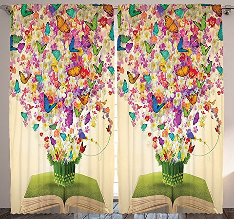 Floral Curtains Butterfly Decor by Ambesonne, Enchanted Spring Inspirational Abstract Flowers Magic of Books, Window Drapes 2 Panels Set for Living Room Bedroom, 108 X 84 Inches, Beige Green and Pink