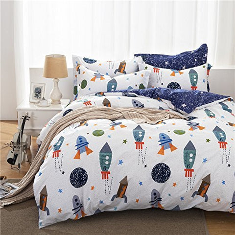 Brandream Boys Galaxy Space Bedding Set Kids Bedding Set Duvet Cover Twin Size
