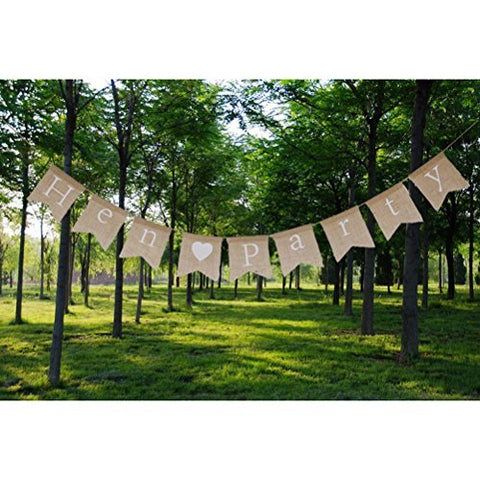 Tinksky Hen Party Hessian Burlap Banner Rustic Wedding Party Decoration Bunting Flag