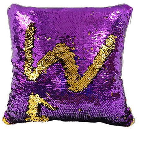 TRLYC 18x18-Inch Mermaid Sparkling Purple and Gold Sequin Throw Pillow Mermaid Magic Glitter Reversible Color Changing Decorative Pillow Cases for Sofa Comfy