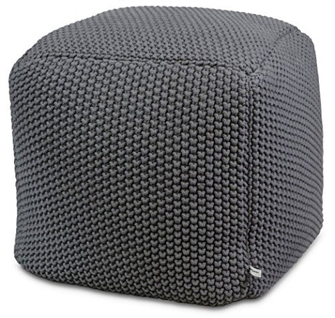Crocheted/Knitted Ottoman Pouf - Gray (100% Cotton, Handmade, Square, Beautiful, Soft and Lightweight, Available in Four Colors) | by Urban Legacy