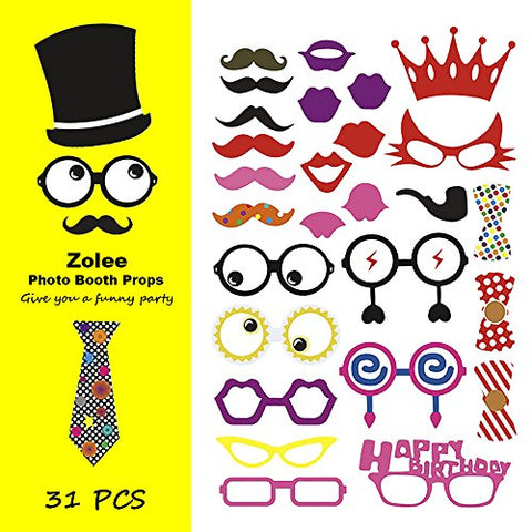 Zolee 31pcs Birthday Party Photo Booth Props Mustache DIY Kit  Party Supplies Favors Reunions Dress-up Accessories