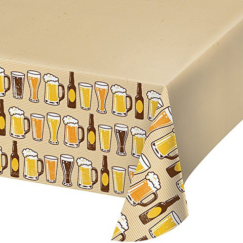 Creative Converting Border Print Plastic Tablecover, 54 x 102 , Cheers/Beers