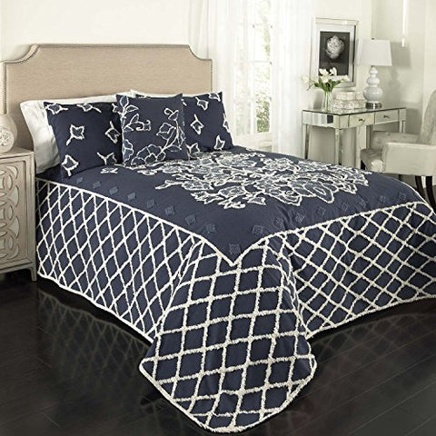 Beatrice Home Fashions Grotto Chenille Bedspread, Queen, Blue