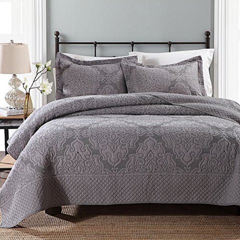 NEWLAKE Quilt and Sham Patchwork Bedspread Set with Real Stitched Embroidery, Grey, Queen Size