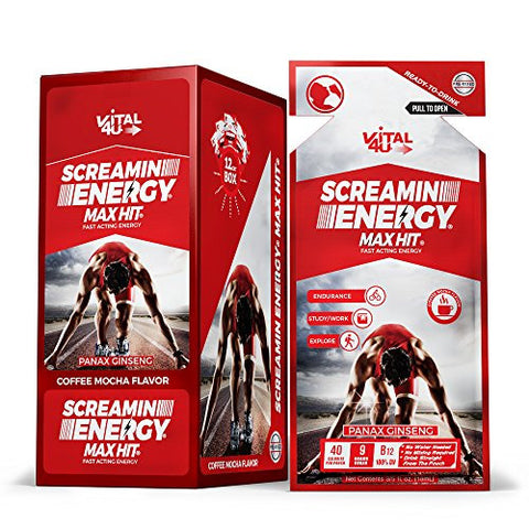 Screamin Energy Max Hit, Maximum Strength Energy Shot, Coffee Mocha Flavor, 24 Count