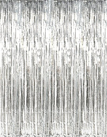 GOER 3.2 ft x 9.8 ft Metallic Tinsel Foil Fringe Curtains for Party Photo Backdrop Wedding Decor (Silver,3 pack)