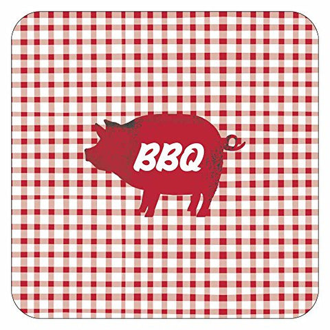 Paperproducts Design 88215 Dinner 10  Square Paper Plates Featuring BBQ Pig Design, 10 , Red