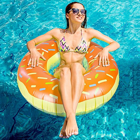 Greenco Giant Inflatable Donut With Sprinkles Float