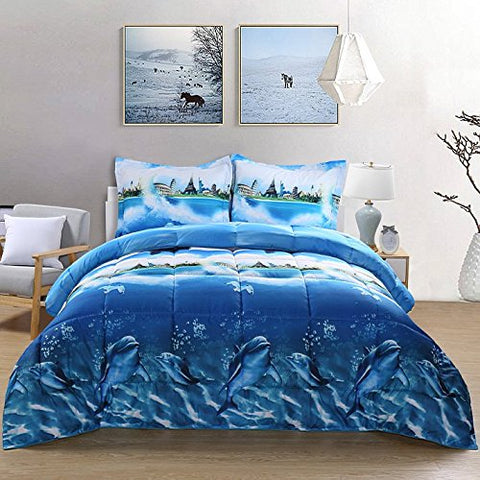 3 Piece Comfy 3D Print Sea Dolphin Goose Down Alternative Comforter Microfiber Wrinkle,Fade Resistant Egyptian Cotton Quality Ultra Soft All Year Round Bedding Set Queen