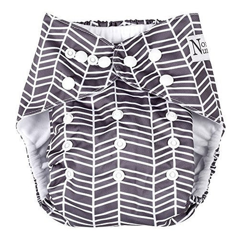 Herringbone Unisex Baby Cloth Pocket Diaper with Bamboo Insert for Boy or Girl by Nora's Nursery