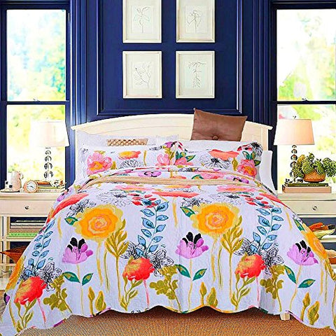 Artextile Yellow Floral Poppy Bedding Reversible Coverlet Bedspread 3-Pieces Quilt Set ,Queen Size