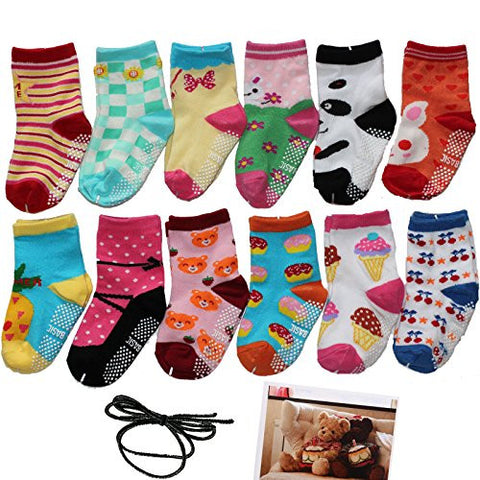 Yaobabymu 6 Pairs 16-36 Months Baby Boy's Girl's Non Skid Ankle Cotton Toddler Anti Skid Slip Slipper Stretch Knit Socks and Gift , Footsocks sneakers Socks,Length 12-15cm