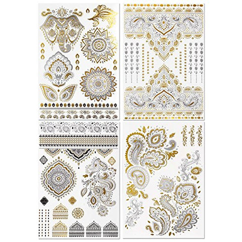 BMC 4 Sheet Set Bling Metallic Gold Silver India Inspired Temporary Body Tattoos