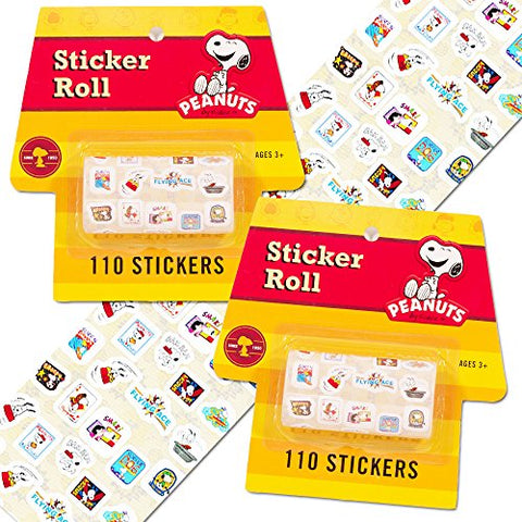 Peanuts Snoopy Stickers Party Supplies Pack ~ 220 Snoppy Stickers (2 Sticker Rolls)
